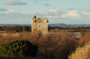 la Tour Carbonnière près d'Aigues Mortes dans le Gard monument historique classé